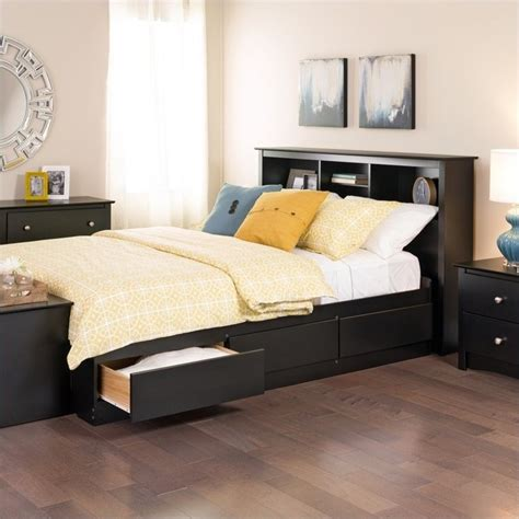Storage Bed With Bookcase Headboard by Prepac Sonoma Black Bookcase Platform Storage W Headboard