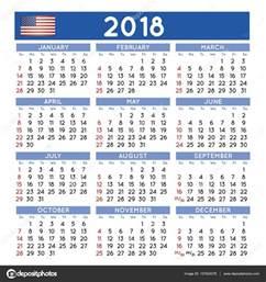 Calendar 2018 Brasil 2018 Squared Calend 225 Ingl 234 S Eua Vetores De Stock