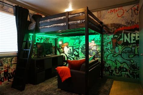cool gaming bedroom ideas loft bed and graffiti walls teenage boy industrial loft