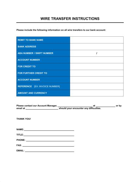Wire Transfer Instructions Form Template Sle Form Biztree Com International Wire Transfer Form Template