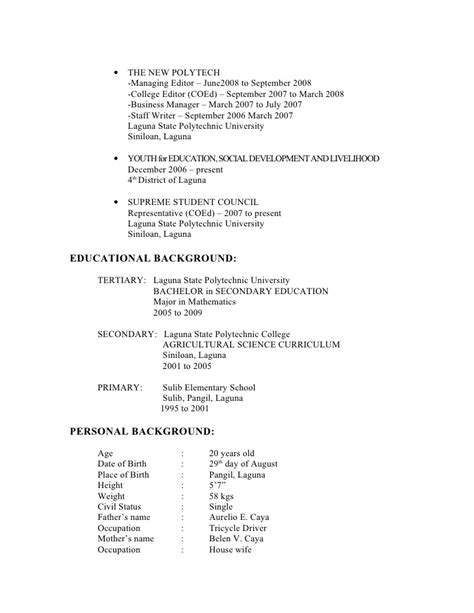 School Resume Sle by Sle Resume For Primary School 28 Images Sle Primary