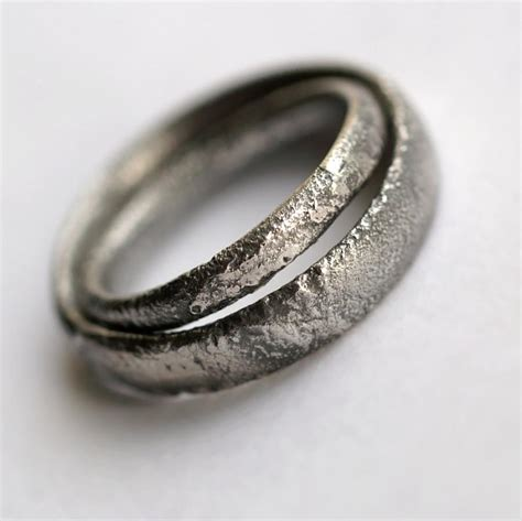 Silver Wedding Bands by Rustic Wedding Bands Set Oxidized Sterling Silver