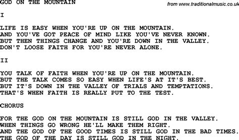 Printable Lyrics God On The Mountain | country southern and bluegrass gospel song god on the