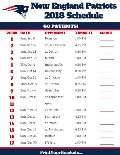 printable schedule for new england patriots printable new england patriots schedule 2018 season
