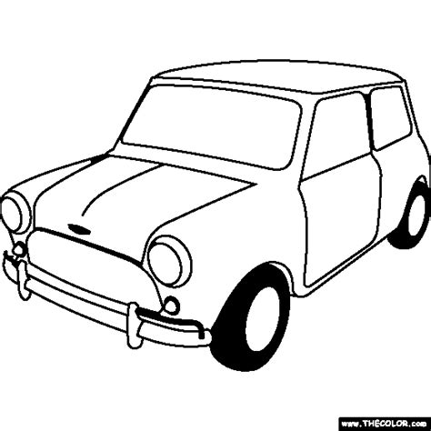 Mini Car Coloring Page | 100 free coloring page of a 1963 austin mini cooper s