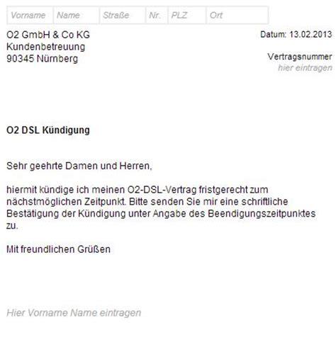 Kündigung O2 Vertrag Brief O2 Dsl K 252 Ndigungsschreiben Als