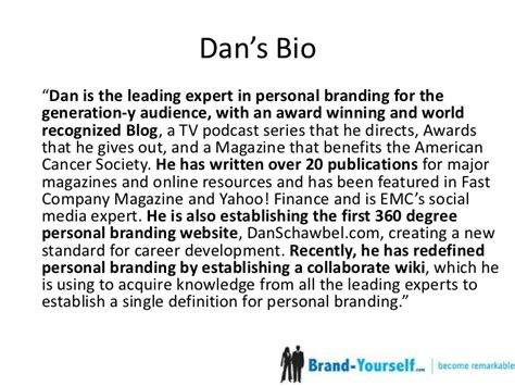 Public Speaker Resume Sample by How To Write A Short Professional Bio Ft Dan Schawbel