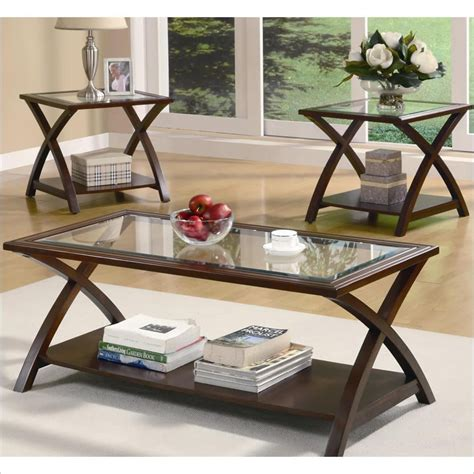 living room coffee table sets coaster 3 piece glass top coffee table set in cappuccino 701527
