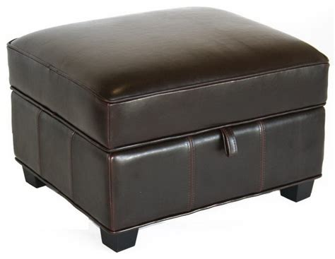 Small Leather Ottoman Cube Baxton Studio Agustus Brown Leather Storage Ottoman Transitional Footstools And Ottomans