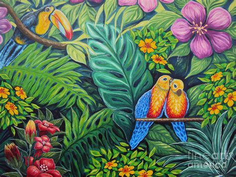 jungle painting parrots jungle painting by drinka mercep