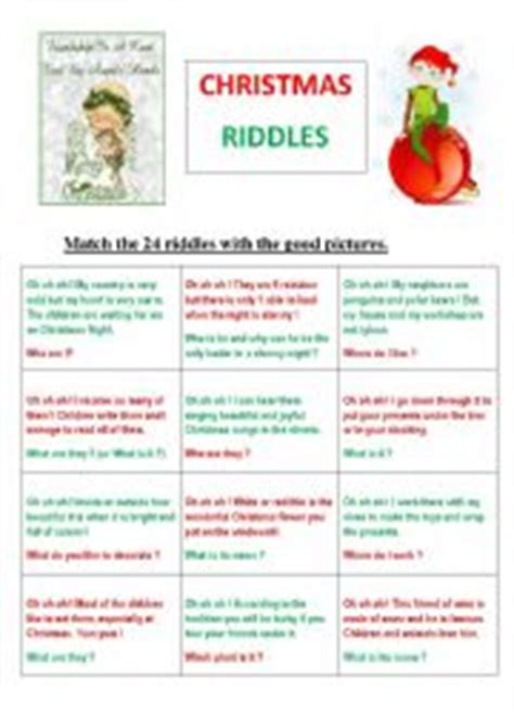 printable christmas riddles english worksheets 24 christmas riddles or memory game