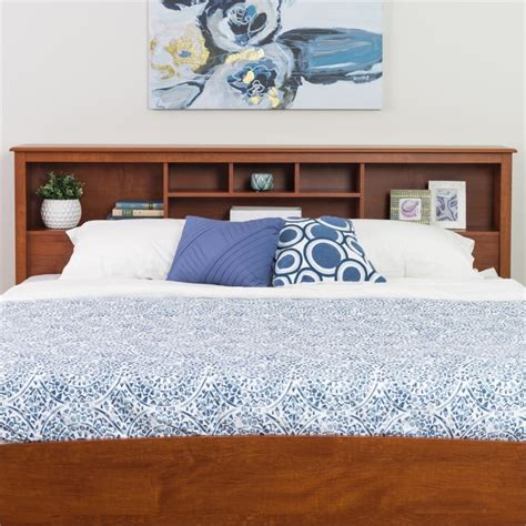 King Bookcase Headboard by King Bookcase Headboard In Cherry Csh 8445