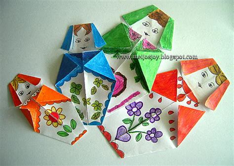 Origami Family - origami babushka doll family crafts