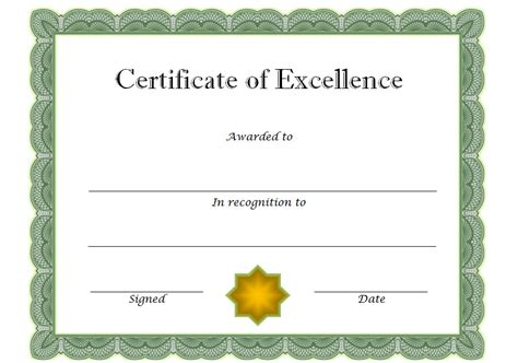 free printable certificate of excellence template certificate of excellence 8 the best template collection