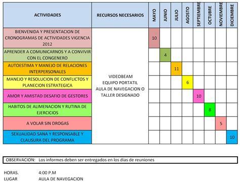 formato del cronograma de las actividades formato cronograma 6 formato mantenimientos y cronograma