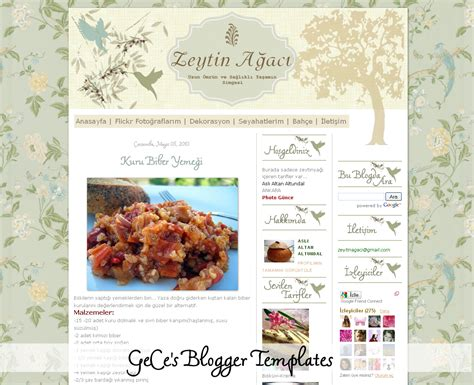 vintage templates for blogger free gece s blogger templates olive tree cooking and life blog