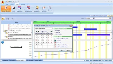 bank working days schedule of works in the construction industry acca software
