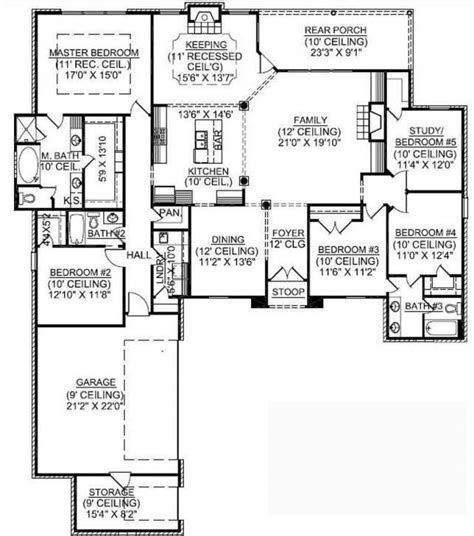 New One Story House Plans by 5 6 Bedroom House Plans New 1 Story 5 Bedroom