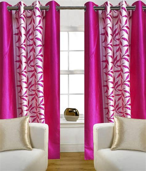 pink patterned eyelet curtains zesture bring home set of 4 long door eyelet curtains