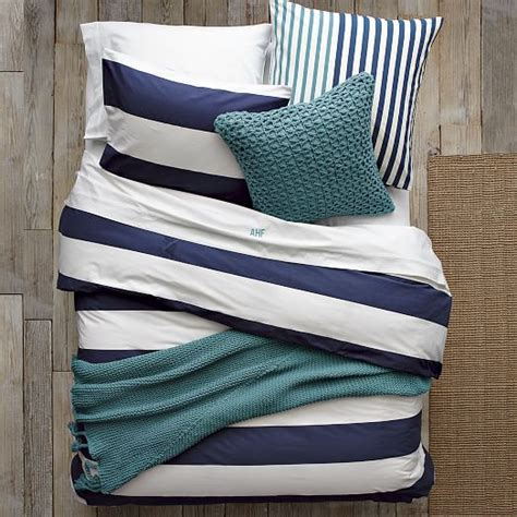 stripe bedding stripe duvet cover shams white navy west elm
