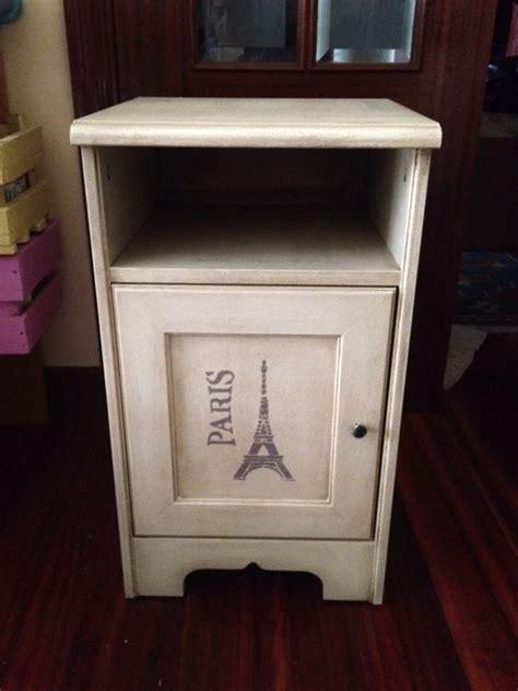 chalk paint muebles melamina mesilla de ikea pintada con pintura de tiza plantilla y