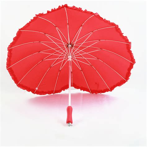 umbrella pattern raincoat red heart pattern love umbrella bride long handled