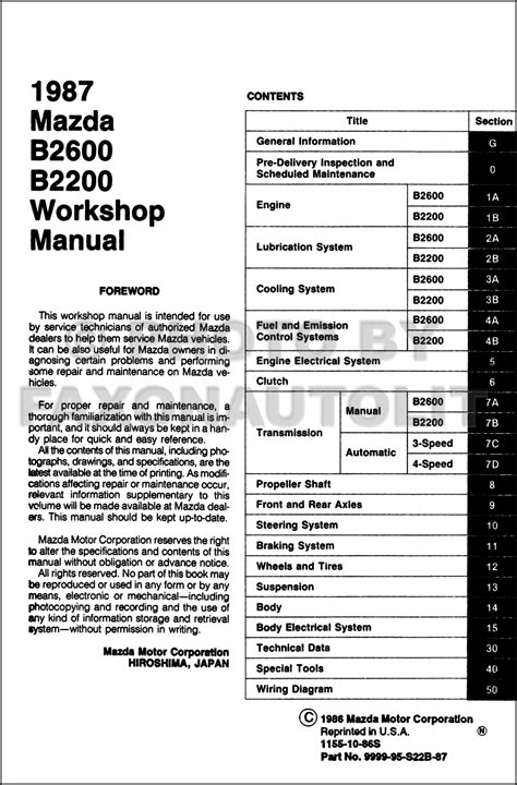 auto repair manual free download 1990 mazda b series parental controls service manual free car manuals to download 1987 mazda b2600 windshield wipe control 1992