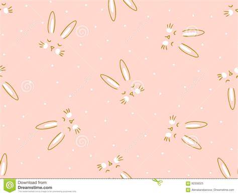 hand drawn wallpaper vector seamless pink background with little cute bunny