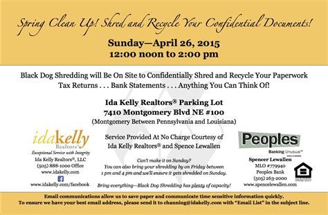 Records Free Of Charge Shredding Event April 26th From Noon To 2 00 Pm