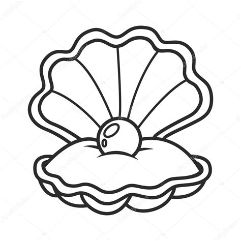 Con Outline by Scallop Seashell With Pearl Stock Vector 169 Balakoboz 91112184