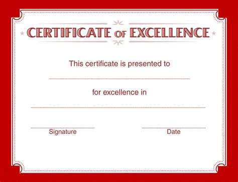 certificate of excellence templates sle certificate of excellence free word s templates