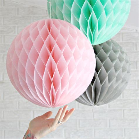 How To Make Honeycomb Paper Flower - 3pcs 20cm pink grey mint large tissue paper honeycomb
