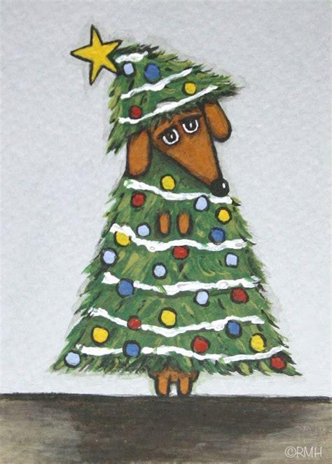 aceo original painting dachshund christmas tree