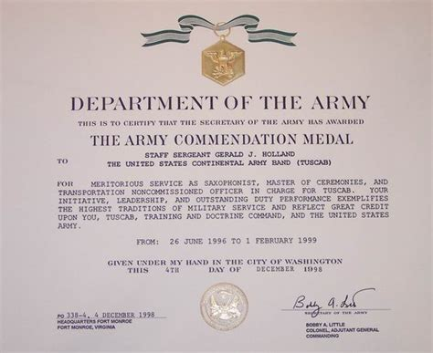 army award certificate army commendation medal permanent change of station award