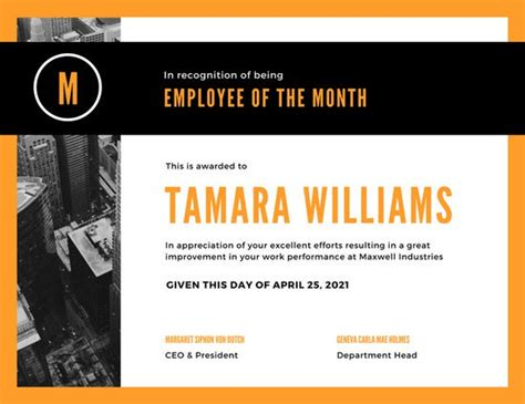 orange black photo employee of the month certificate