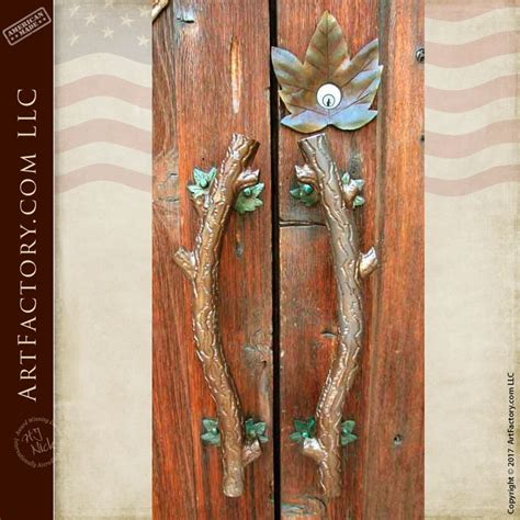 curved tree branch door pulls  hand forged leaves