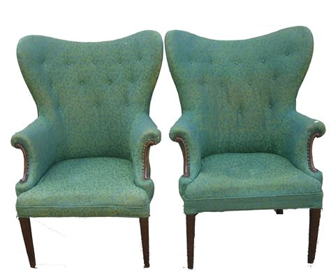 pair antique mad hatter wingback chairs in vintage