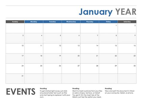 horizontalevent monthly calendar template exceltemplate