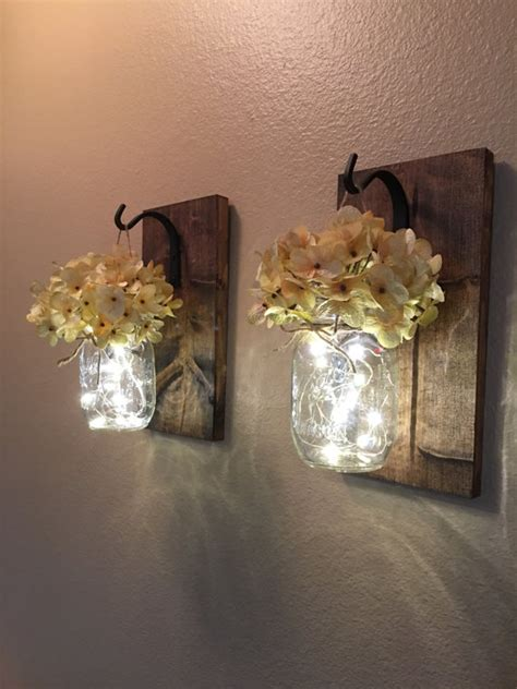 Hanging Sconces Set Of 2 Hanging Jar Sconces Hydrangea Flowers