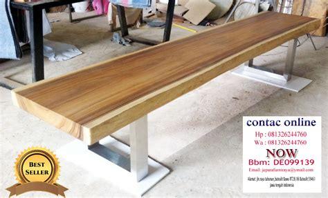 Meja Kayu Utuh meja kayu trembesi utuh kaki stainless galery mebel