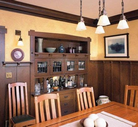 wood wainscot revival craftsman dining room dining room