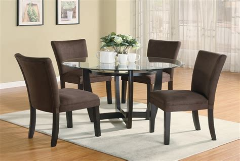 furniture outlet  tempered glass dining table set fabric chair cappuccino finish casual