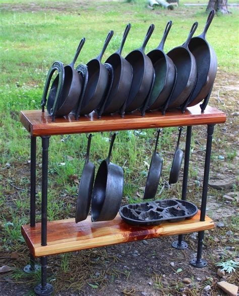 Handmade Cast Iron Skillet - cast iron skillet cookware display stand table holder