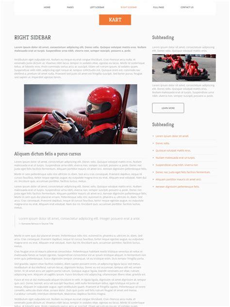 karting website template go kart racing website