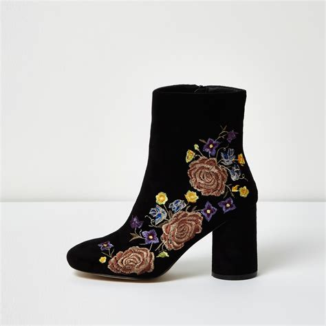 river island black embroidered floral ankle boots in black