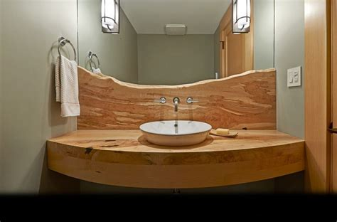 wood counter bathroom backsplash and counter as is or add solid surface or