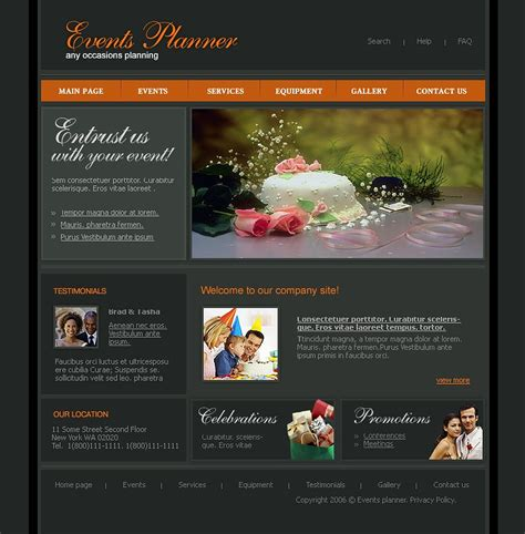 wedding planner website templates event planner website template 10463