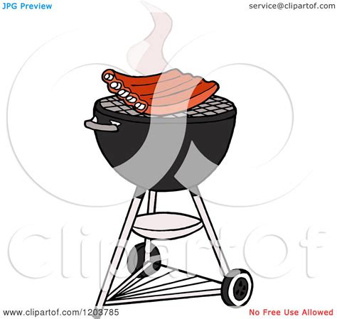 cartoon of bbq ribs cooking on a weber charcoal grill
