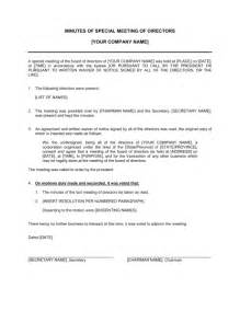minutes of meeting of directors special template
