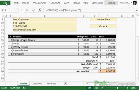 excel invoice template with database
